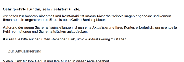 Phishing-Mail Identitätsüberprüfung